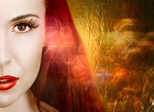 Woman on lights background. Stock Image