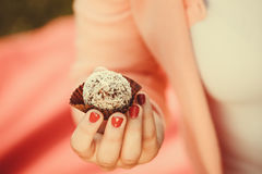 Woman with liitle cookie cupcake. Stock Photos