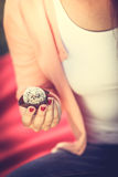 Woman with liitle cookie cupcake. Stock Images