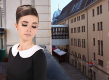 Woman like Audrey Hepburn Royalty Free Stock Photo