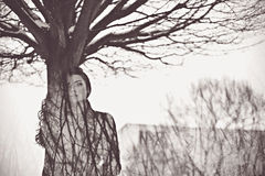 Woman like tree art concept. Black and white art portrait of young woman Royalty Free Stock Image