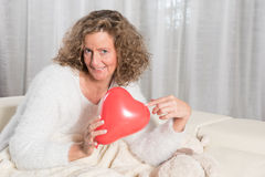 Woman likes air balloon Royalty Free Stock Photo