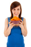 The woman likes eating chips Royalty Free Stock Photo