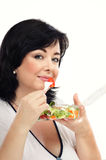 Woman likes to eat takeaway salad Stock Photo