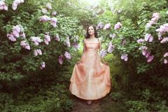 Woman in lilac bushes. Royalty Free Stock Photo