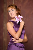 Woman in a lilac dress Royalty Free Stock Photography