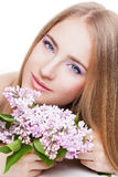 Woman with lilac Stock Photos