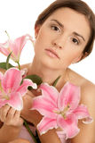 Woman with lilies Stock Photos