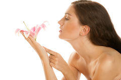 Woman with lily Stock Image