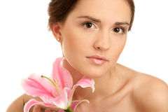 Woman with lily Stock Photos