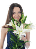 Woman with lily Stock Photography