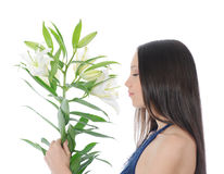Woman with lily Royalty Free Stock Photos