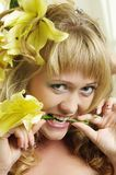 Woman with Lily Stock Photo
