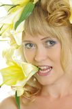 Woman with Lily Royalty Free Stock Image