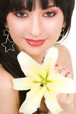 Woman with  lily flower Stock Photography