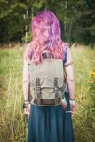 Woman with linen backpack bag. Template mock up Stock Photo