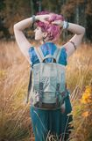 Woman with linen backpack bag. Template mock up Royalty Free Stock Image