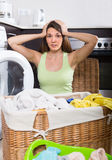 Woman with linen basket Royalty Free Stock Photography