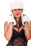 Woman in lingerie and fur Royalty Free Stock Images