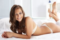 Woman in lingerie Stock Images