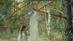 Woman in lingerie touches her wedding dress hanging on the branch of a pine. stock footage