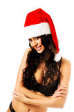 Woman in lingerie wearing santa claus hat Stock Photography