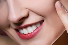Woman lips. Close-up of woman lips Stock Images