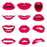 Woman lips expression vector icons set Royalty Free Stock Image