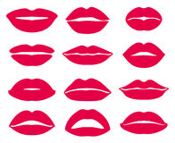 Woman lips expression vector icons set Stock Images