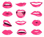 Woman lips facial expression vector set Royalty Free Stock Photo