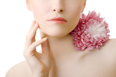 Woman lips flower closeup cut isolated Royalty Free Stock Image
