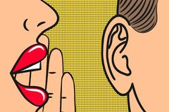 Woman lips with hand whispering in mans ear with speech bubble. Pop Art style, comic book illustration. Secrets and gossip concept Stock Photo
