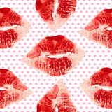 Woman lips and hearts pattern on white background. Lipstick kiss Royalty Free Stock Photo