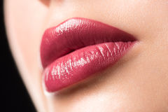 Woman lips with lipstick Royalty Free Stock Photography