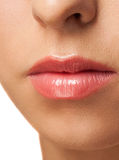 Woman lips with pink  lipstick Stock Photos