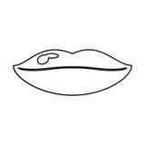Woman lips sexy symbol thin line. Vector illustration eps 10 Stock Photos