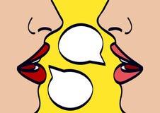 Woman lips talk, vector illustration Royalty Free Stock Photo