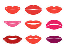 Woman lips. Vector set of lips silhouettes. Custom Royalty Free Stock Photos