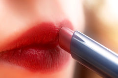 Woman with lipstick Stock Images