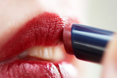 Woman with lipstick Royalty Free Stock Photos