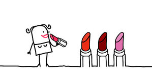 Woman & Lipstick Stock Photography