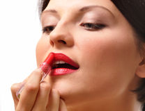Woman with lipstick stock photography