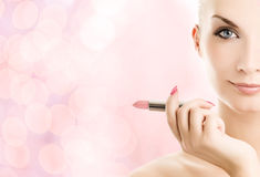 Woman with lipstick Stock Photo