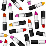 Woman Lipstick Seamless Pattern. A seamless pattern with woman lipstick in five different colors, isolated on white background. Useful also as design element for Stock Photography
