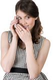 Woman listen carefully to what they say on the phone Stock Images