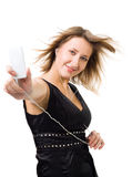 Woman listen music Stock Photography