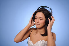 Woman listen music Stock Photo