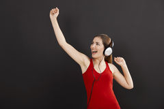 Woman listen music Royalty Free Stock Image