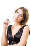 Woman listen music and thinking Royalty Free Stock Photo