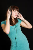 Woman listen to cheerful music. Royalty Free Stock Photo